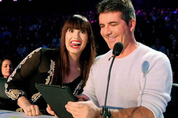 Demi and Simon on The X Factor (Twitter)