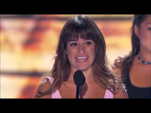Lea Michele makes her speech (Screengrab)