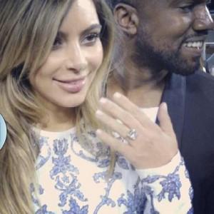 Kim Kardashian seen with her engagement ring (Instagram)
